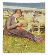 A Girl Knitting Fleece Blanket
