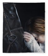 A Girl Who Loves Horses Fleece Blanket
