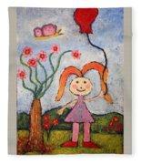 A Girl With A Balloon Fleece Blanket