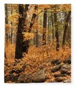 A Golden Autumn Forest  Fleece Blanket