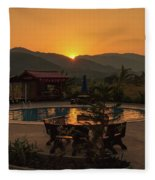 A Golden Sunset In Loas Fleece Blanket