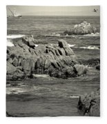 A Good Day Fishing On Monterey Bay In Black And White Fleece Blanket