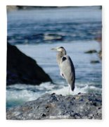 A Great Blue Heron At The Spokane River Fleece Blanket
