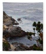 A Grey Day At Big Sur Fleece Blanket