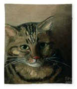 A Head Study Of A Tabby Cat Fleece Blanket
