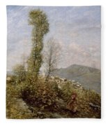A Hillside Village In Provence Henry Herbert La Thangue Fleece Blanket