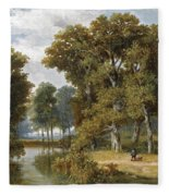 A Hunter And An Angler In A Wooded Landscape Fleece Blanket