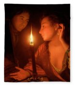 A Lady Admiring An Earring By Candlelight Fleece Blanket