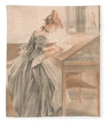 A Lady Copying At A Drawing Table Fleece Blanket