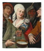A Lady Holding A Swaddled Cat A Man With A Pan Of Porridge Another Playing With Fire Irons And Two O Fleece Blanket
