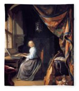 A Lady Playing The Clavichord Fleece Blanket