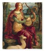 A Lady With A Unicorn Fleece Blanket