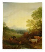 A Landscape With Cattle And Figures By A Stream And A Distant Bridge Fleece Blanket