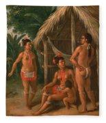 A Leeward Islands Carib Family Outside A Hut Fleece Blanket