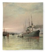 A Liner And Other Shipping Before The Statue Of Liberty Fleece Blanket