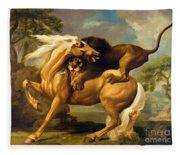 A Lion Attacking A Horse Fleece Blanket