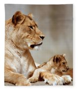 A Lioness And Cub Fleece Blanket