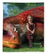A Little Girl And Her Dragon Fleece Blanket