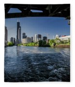A Look At The Chicago Skyline From Under The Roosevelt Road Bridge  Fleece Blanket
