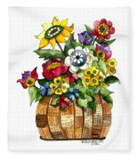 A Lovely Basket Of Flowers Fleece Blanket