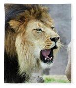 A Male Lion, Panthera Leo, Roaring Loudly Fleece Blanket