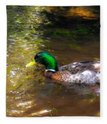 A Male Mallard Duck 3 Fleece Blanket