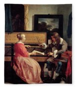 A Man And A Woman Seated By A Virginal Fleece Blanket