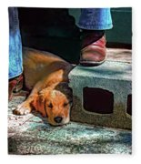 A Man And His Dog Fleece Blanket
