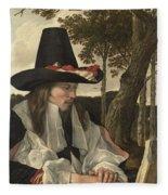 A Man Reading, Anonymous, C. 1660 Fleece Blanket
