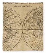 A Map Of The World With The Voyage Of Robinson Crusoe Fleece Blanket