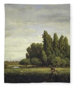 A Meadow Bordered By Trees Fleece Blanket