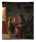 A Meal. Two Boys And A Grandmother Tasting The Potato Soup Fleece Blanket