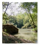 A Medina River Morning Fleece Blanket