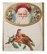 A Merry Christmas From Santa Claus Vintage Greeting Card With Robins Fleece Blanket