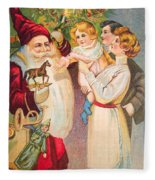 A Merry Christmas Vintage Card Santa And A Family Fleece Blanket