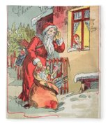 A Merry Christmas Vintage Greetings From Santa Claus And His Gifts Fleece Blanket