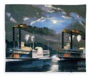 A Midnight Race On The Mississippi Fleece Blanket