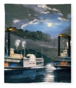 A Midnight Race On The Mississippi Fleece Blanket