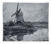 A Mill On The Banks Of The River Stour Charcoal On Paper Fleece Blanket