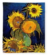 A Modern Look At Vincent's Vase With 5 Sunflowers Fleece Blanket