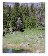 A Moose In The Rockies Fleece Blanket