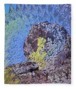 A Mossy Rock  Fleece Blanket
