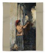 A Neapolitan Flax Spinner John William Waterhouse Fleece Blanket