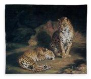 A Pair Of Leopards Fleece Blanket