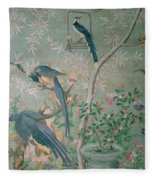 A Pair Of Magpie Jays  Vintage Wallpaper Fleece Blanket