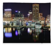 A Panoramic Baltimore Night Fleece Blanket
