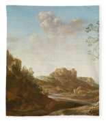 A Panoramic River Valley Landscape With Figures And Village Below Fleece Blanket