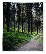 A Path Through A Dense Forest Fleece Blanket