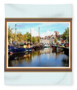A Peaceful Canal Scene - The Netherlands L A S With Decorative Ornate Printed Frame. Fleece Blanket