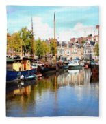 A Peaceful Canal Scene - The Netherlands L B Fleece Blanket
